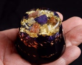 Sugilite, Lepidolite Orgonite Orgone Energy Generator. Arkansas Crystals, Amber, Rhodizite, Petalite, Phenacite, Black Tourmaline, Shungite