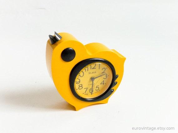 Vintage 11 Jewels Yellow Chick Alarm Clock Russian 70s