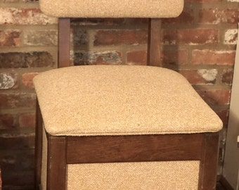 Upholstered Sewing Chair with Storage Cream Tweed Fabric Organizer LOCAL pickup or FREIGHT