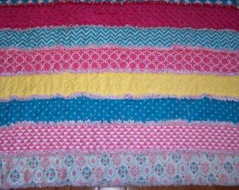 Small Rag Strip Quilt - Rag Strip Quilt - Small Rag Quilt - Stroller Rag Quilt - Car Seat Quilt - Play Quilt - Rag Quilt
