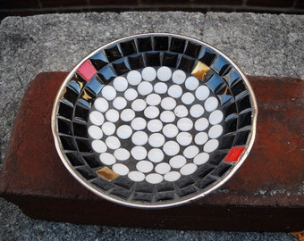 Mid Century Tile Mosaic Dish Tray Atomic
