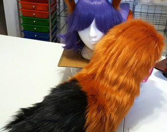 Amber Red Fox Tail with Black Tip and Matching Ears Set