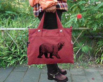 Red cotton canvas tote bag / messenger bag with screen print, sholder bag / hand bag / school bag
