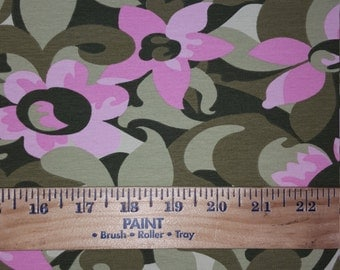 Girly Floral Camoflauge Cotton Lycra Knit Fabric