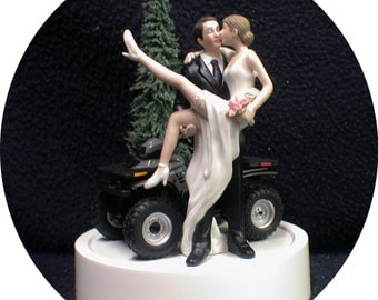SEXY Silver Quad ATV Off Road 4 WHEELER Wedding Cake Topper racing funny bride Groom top Funny Romantic Nature outdoors hunting