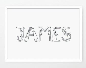 Personalised Hoppy Bunnies name print