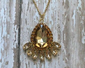 Gorgeous yellow rhinestone necklace