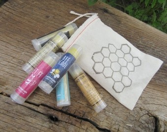 Set of 9 Beeswax Lip Balms- in a decorative muslin bag (Buy 8, Get One FREE)