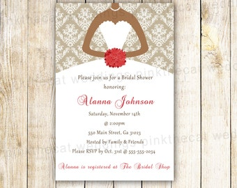 Dress Bridal Shower Invitation Card Floral Bouquet African American Quiceanera Sweet 16 Birthday Gold Red Bridal Shower Invite Printable
