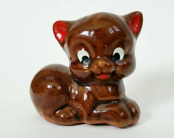 Vintage Cat figurine redware made in Japan, red ears and tongue, gold whiskers, kitty, kitten, brown, clay