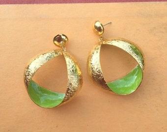 1980s GLAM Earrings...earrings. gold. retro. kitsch. glam earrings. indie. urban. aztec. metal. dangly. pierced ears. 1980s glam. geometric