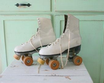 Vintage ROLLER DERBY SKATES...chicago. roller skates. skating. shoes. roller derby. retro skates. pink. white. kitsch. ladies. retro