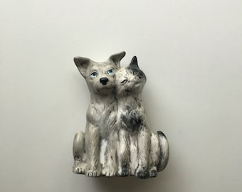 kitty cat and dog figurine cat and dog lovers decor