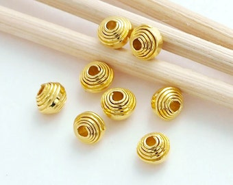 15 of Karen Hill Tribe Silver 24k Gold  Vermeil Style Curled Beads 4x3.5 mm.  :vm0401