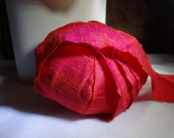 8   Yards HOT PINK RED Silk Dupioni Hand Dyed Ribbon