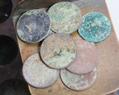 Lot of 10 antique coins, kopecks, copper coins, dark patina