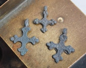 RESERVED for E... Set of 3 Antique metal Old cross Christian Cross pendant. Orthodox church