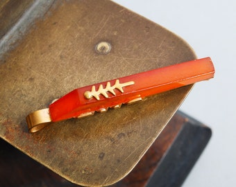 Vintage gold plated brass tie bar clip with pressed  Baltic Amber (IL)
