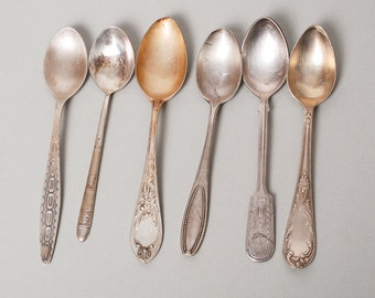 Lot of 6 Antique different silver tone metal tea or coffee spoons, 1920-1980s