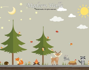 Woodland Wall Decal, Camping Decal Pine Tree Decal-Forest Wall Decal-Woodland Animal Decals-Star-Sun-Moon Decal-Tree Decal-03