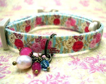 Safety Cat Collar - Breakaway Collar - Toy Dog Collar - Small Dog Collar - Roses Collar - Gemstone Charm Collar - Dark Pink Roses