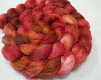 Alpaca/Merino/Tussah Silk Roving-50/30/20-Hand Dyed/Painted - 4 oz - Red, Caramel and Brown