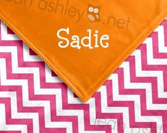 Baby Blanket - Hot Pink Chevron MINKY, Orange MINKY Smooth - Mia - BB1