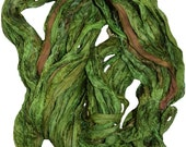 Recycled Sari Silk Ribbon Yarn Green Fiesta multi color, 65 yards,  3.5 oz / 100 grams free shipping