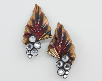 Vintage Coppertone Large Leaf Flare Folded Pleated Clear Rhinestone Copper Tone Dimensional Metal Statement Clip On Earrings