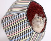 The Cat Ball Pet Bed in Coral Black Lime Green and Royal Blue Stripes