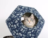 The Cat Ball in Navy Blue and Ivory Butterflies a Modern Hexagonal Pet Bed