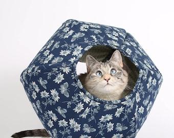 The Cat Ball in Navy Blue and Ivory Butterflies a Modern Hexagonal Pet Bed