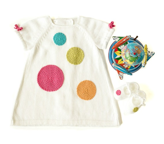 Knitted baby dress, white, with big crochet dots. 100% cotton. READY to SHIP size 1-3 Months.