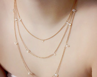 Long Crystal and Gold Layered Necklace