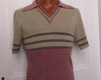 70's Vintage Men's Pullover Space Dyed Mod Hippie Tight sweater medium
