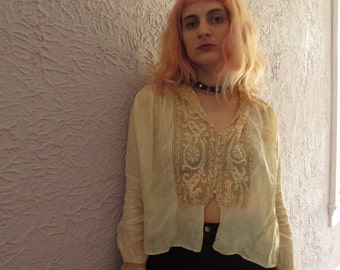 1900 Antique Vintage Edwardian Lace Voile Blouse sm/med