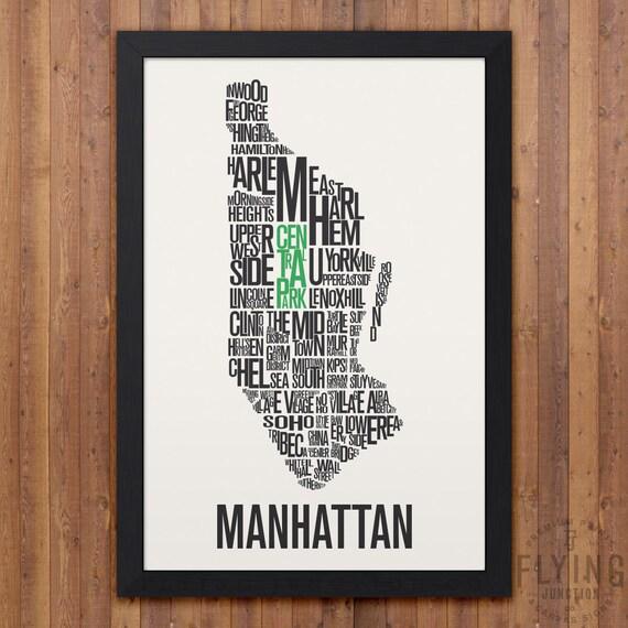 MANHATTAN New York City Typography Map Print