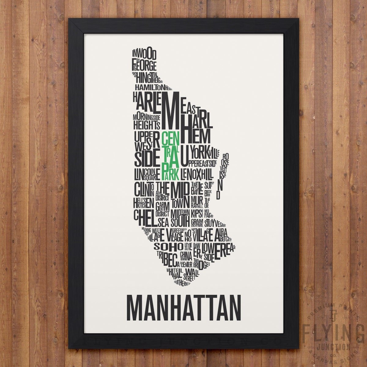 MANHATTAN New York City Typography Map Print - New york neighborhood map