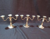 3 Tarnished, Silverplated 3-Candle Candelabras, Shabby Chic, Wedding, Staging, Home Decor, See Description