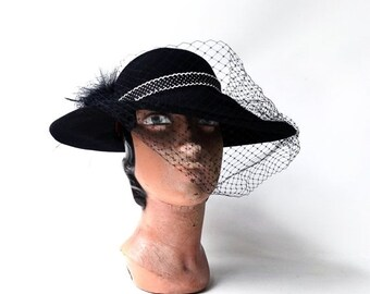 ON SALE Vintage original 1970s Michael Howard black wool felt wide brim hat, feathers and netting hat