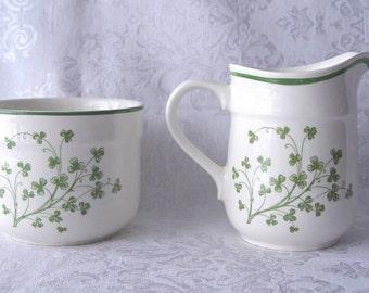 Vintage Irish Arklow Honey Stone Shamrocks Sugar Bowl & Creamer SET ~ Made in Ireland ~ Limerick 8147