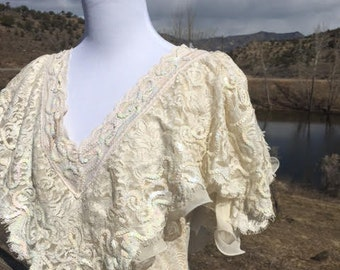 Victorian Style White Lace Gown - Janine, Medium