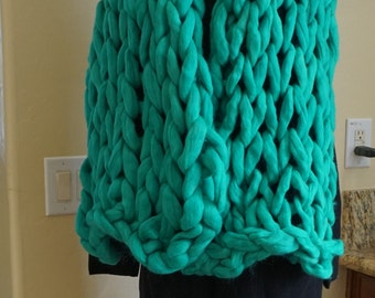 Handcrafted Chunky Merino wool scarf Big yarn scarf.