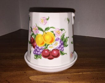 Lenox Orchard Giftware Flower Pot (Garden Bucket) with Underplate by Lenox