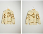 RESERVED for LISA ///////Vintage 50s 60s Squaw Valley Wool Ski Snow Tan Ivory Log Cabin Chunky Knit Sweater // unisex small/ med
