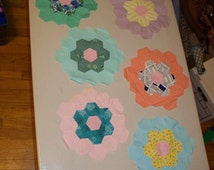 Set of 8 Vintage Grandmother's Flower Garden quilt patches, hand stitched; hexagons; flowers