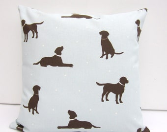 Duck Egg Dog Pillow Cover, Dark Brown Labrador, Dog Cushion Cover, Brown Labrador ,Dark Chocolate Labrador, Sizes from 14 inch up to 24 inch