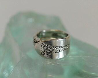 Vintage National Sterling Silver Spoon Ring.. Margaret Rose  Size 7.75 (#5)