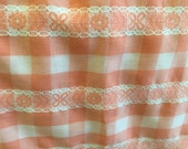Peach and White Checkers Gingham withth Floral Lace Lightweight 100% Cotton 3 Yards x 44 inches Fabric Table linens Curtain Dress Beautiful