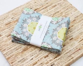Large Cloth Napkins - Set of 4 - (N4324) - Blue Yellow Medallion Floral Modern Reusable Fabric Napkins